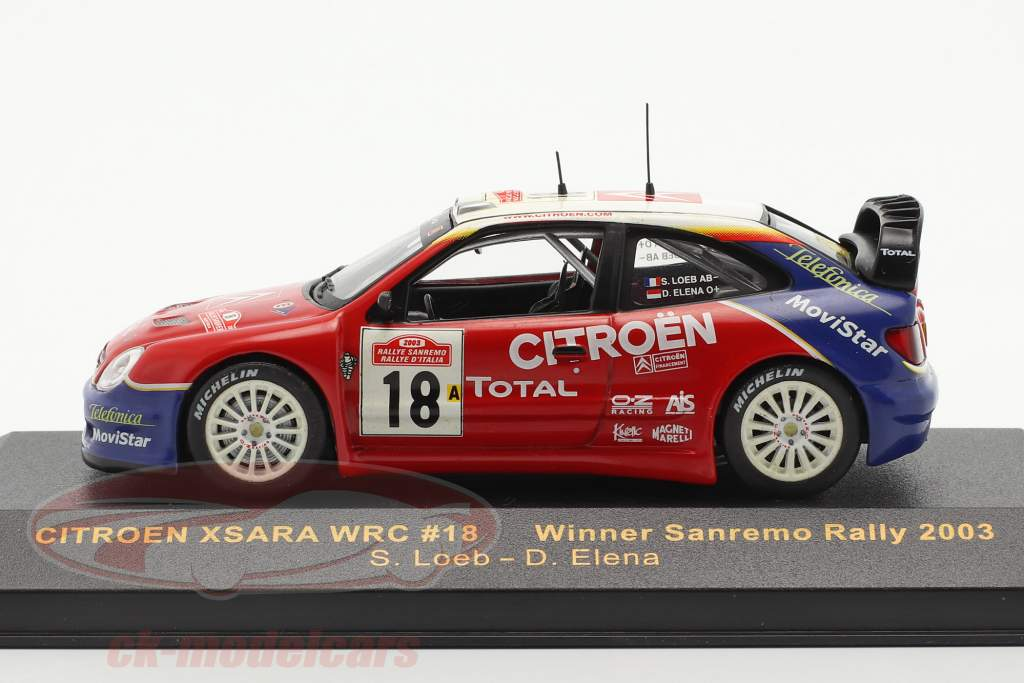 Citroen Xsara WRC #18 ganador Sanremo reunión 2003 Loeb, Elena 1:43 Ixo