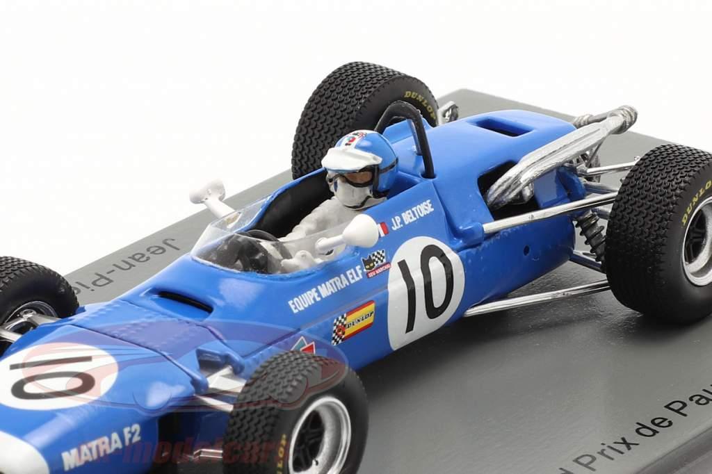 Jean-Pierre Beltoise Matra MS7 #10 Tercero GP de Pau fórmula 2 1968 1:43 Spark