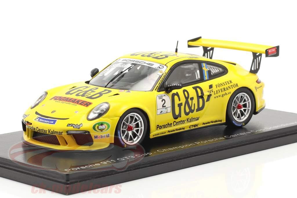 Porsche 911 GT3 Cup #2 Porsche Carrera Cup champion Skandinavien 2018 L. Sundahl 1:43 Spark