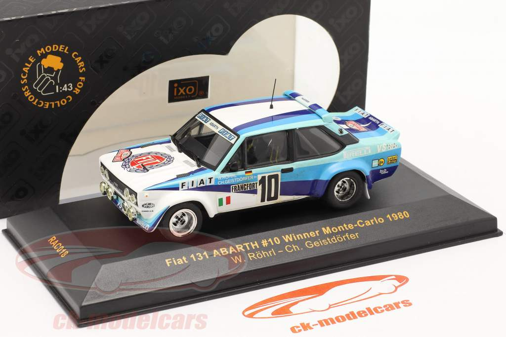Fiat 131 Abarth #10 vinder samle Monte Carlo 1980 Röhrl, Geistdörfer 1:43 Ixo