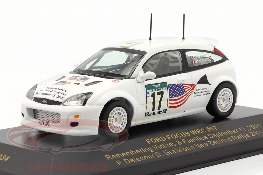 Ford Focus WRC #17 reunión Nueva Zelanda 2001 Delecour, Grataloup 1:43 Ixo