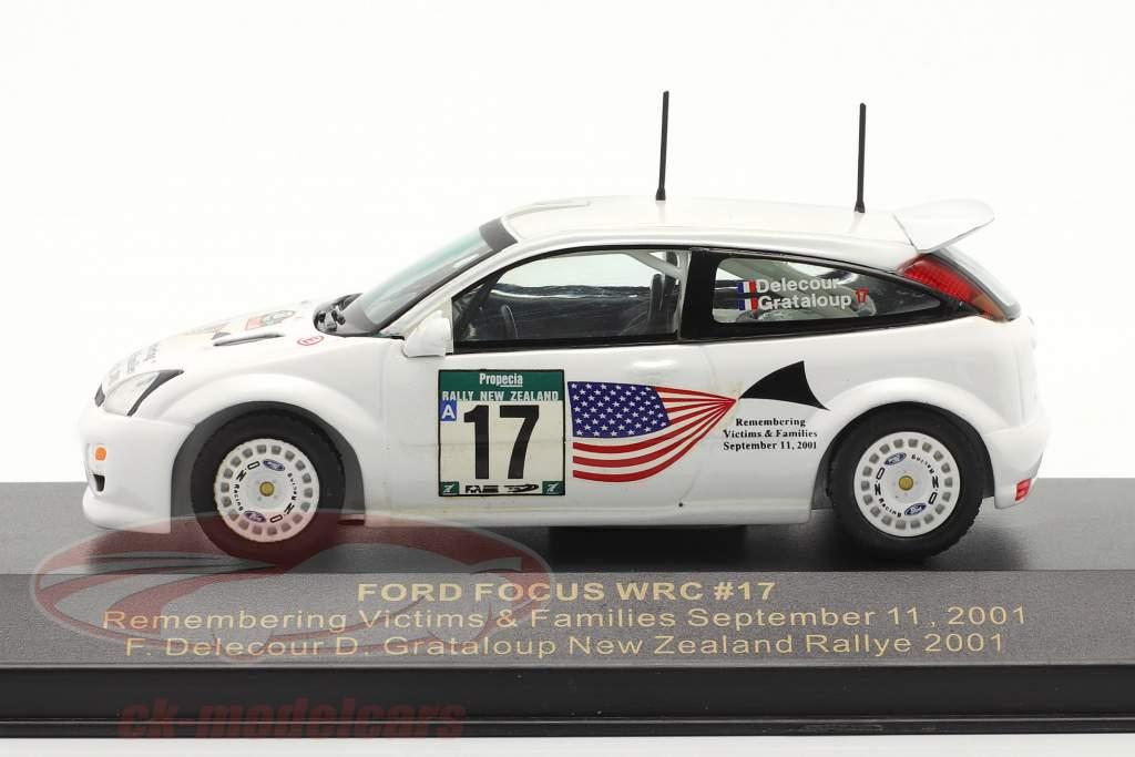 Ford Focus WRC #17 corrida Nova Zelândia 2001 Delecour, Grataloup 1:43 Ixo