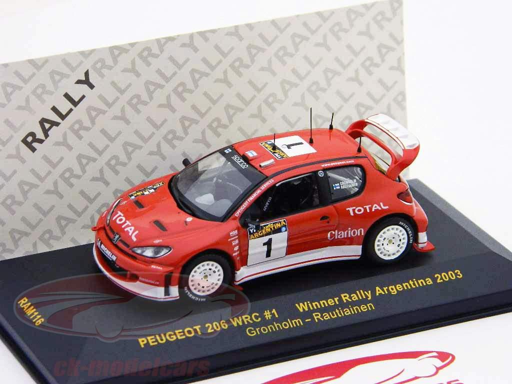 Peugeot 206 WRC #1 gagnant se rallier Argentine 2003 1:43 Ixo / 2. choix