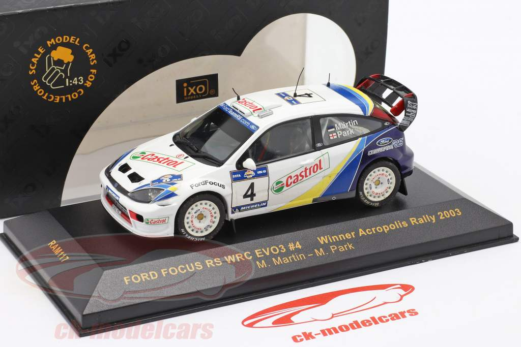 Ford Focus RS WRC EVO3 #4 vinder Acropolis samle 2003 Martin, Park 1:43 Ixo / 2. valg