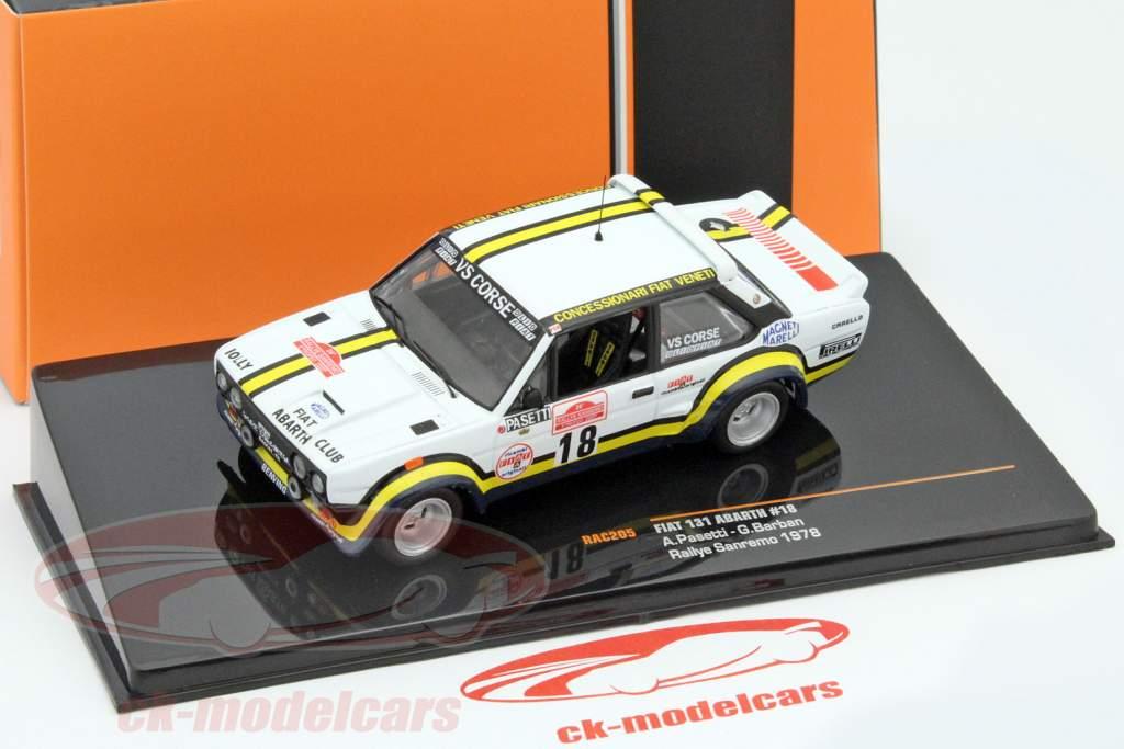 Fiat 131 Abarth #18 samle San Remo 1978 Pasetti, Barban 1:43 Ixo / 2. valg