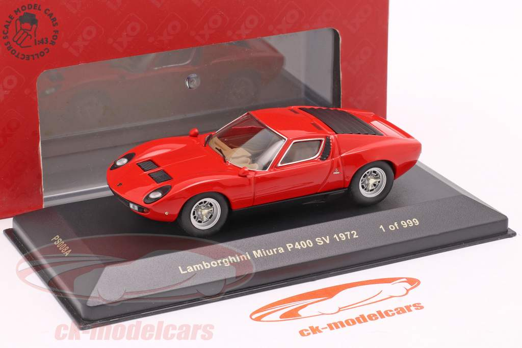 Lamborghini Miura P400 SV año 1972 rojo 1:43 Ixo