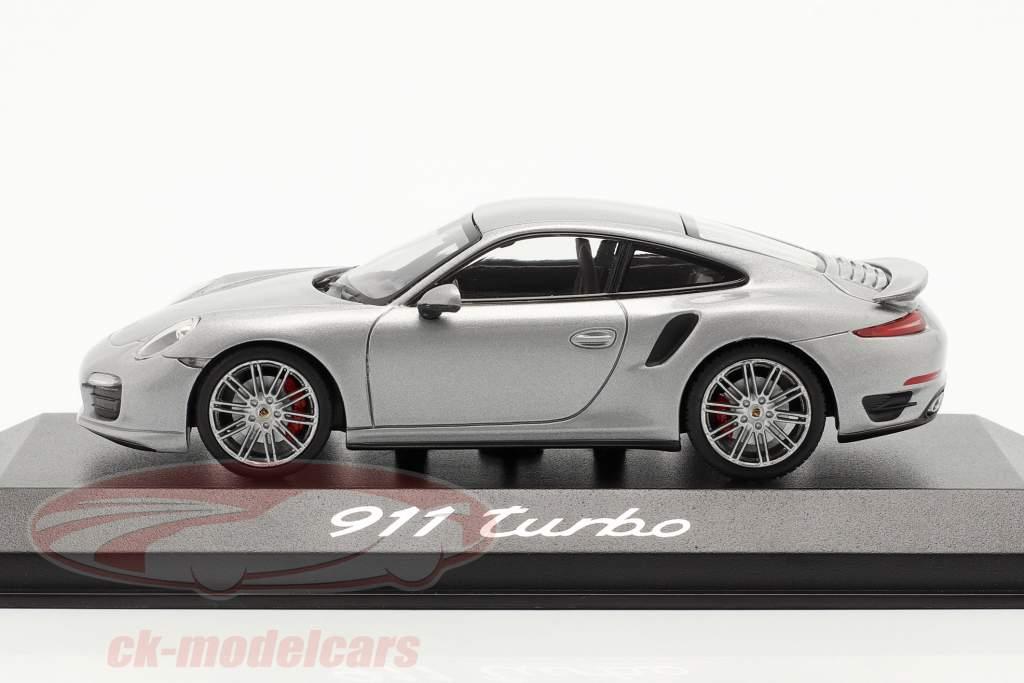 Porsche 911 (991) Turbo Jaar 2013 zilver 1:43 Minichamps