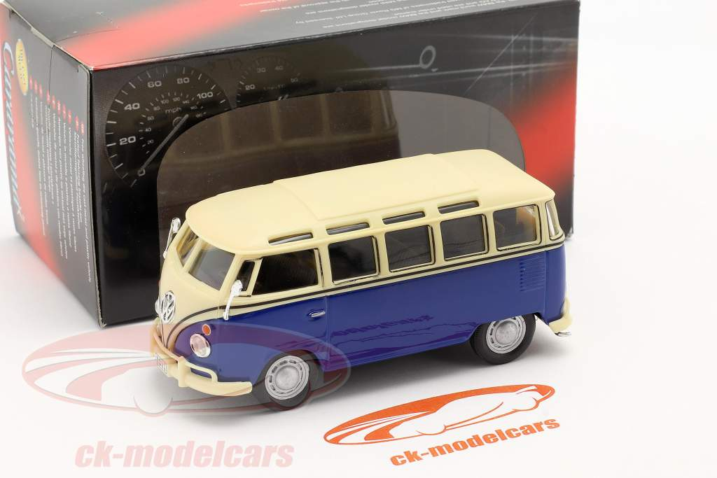 Volkswagen VW T1 Samba Bus blau / weiß 1:43 Cararama