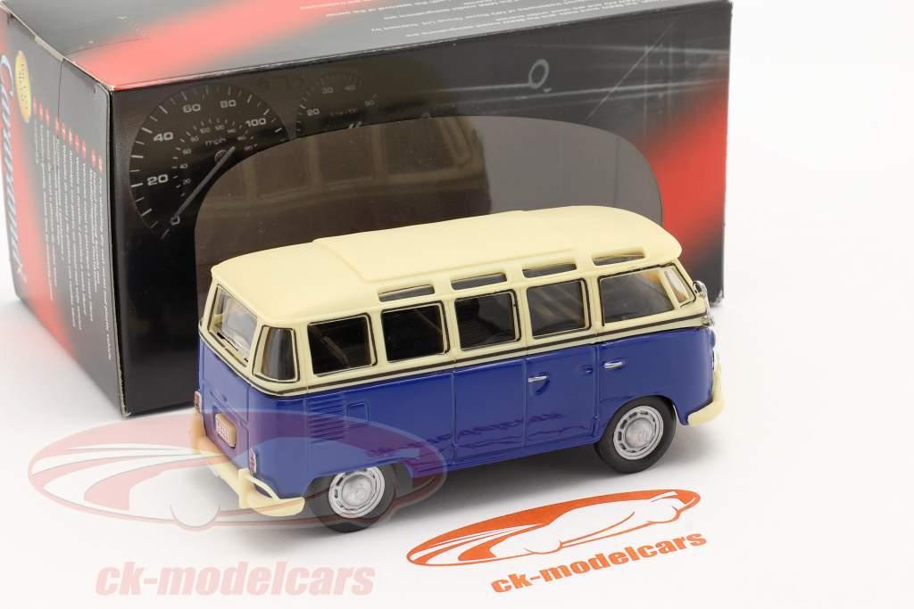 Volkswagen VW T1 Samba Bus blå / hvid 1:43 Cararama