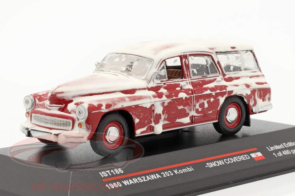 Warszawa 203 Combi 1960 rød med sne IS 1:43 Ixo