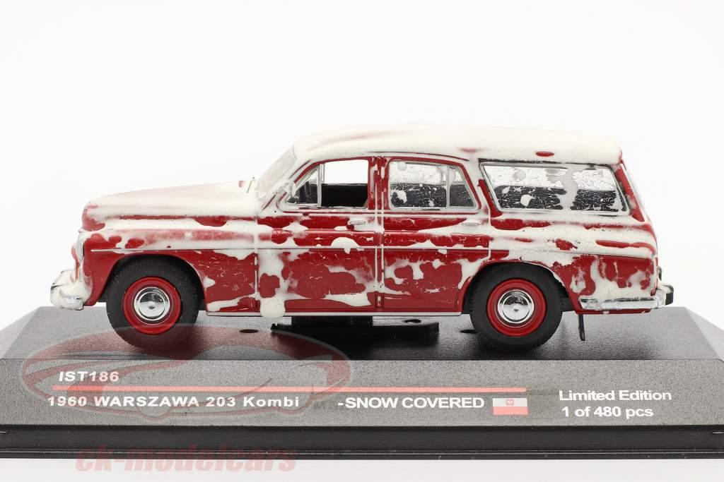 Warszawa 203 Combi 1960 rood met sneeuw IS 1:43 Ixo