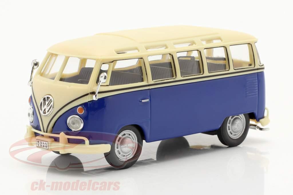 Volkswagen VW T1 Samba Bus azul / branco 1:43 Cararama