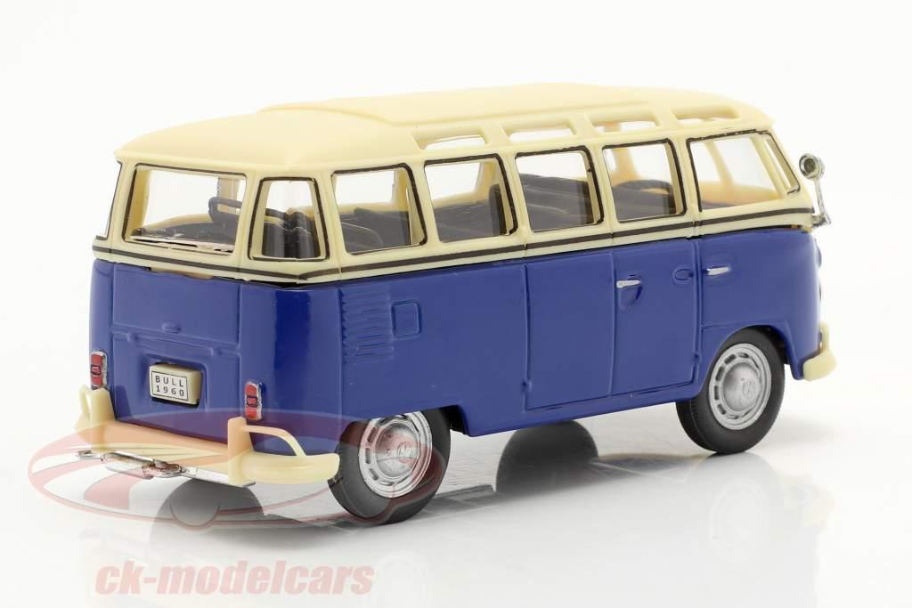 Volkswagen VW T1 Samba Bus bleu / blanc 1:43 Cararama