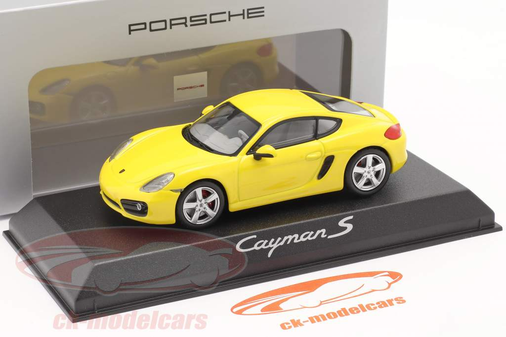 Porsche Cayman S 981 Bouwjaar 2013 geel 1:43 Norev