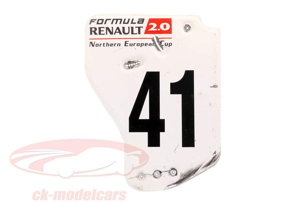 origineel Achtervleugel Eindplaat #41 formule Renault 2.0 / ca. 36 x 47 cm