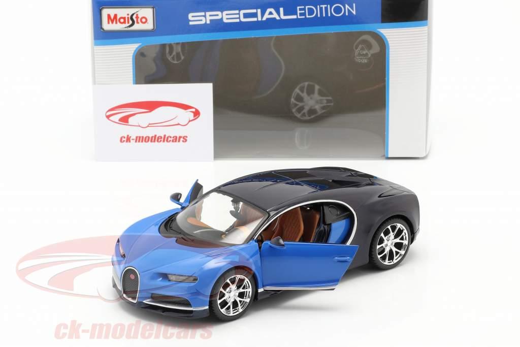 Bugatti Chiron ano 2016 azul 1:24 Maisto