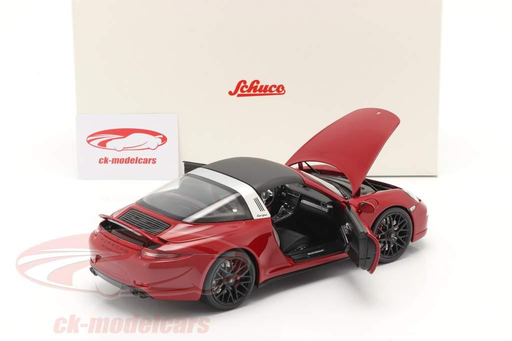 Porsche 911 (991) Carrera 4 GTS Targa Bouwjaar 2014 karmijn 1:18 Schuco