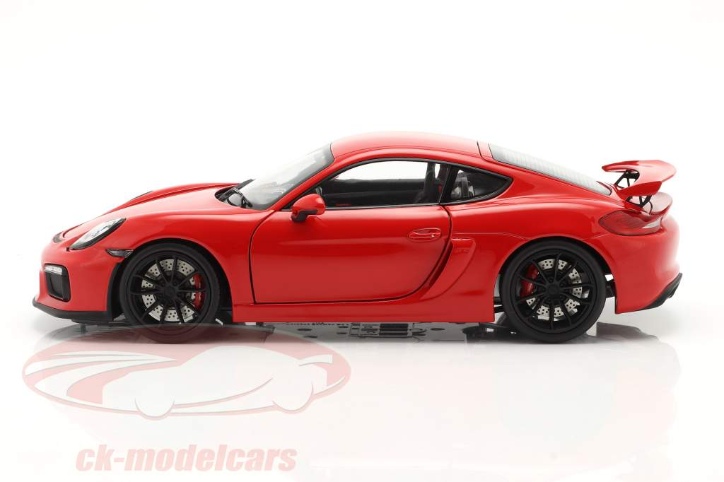 Porsche Cayman GT4 (981c) Anno di costruzione 2015 Protezioni rosse 1:18 Schuco