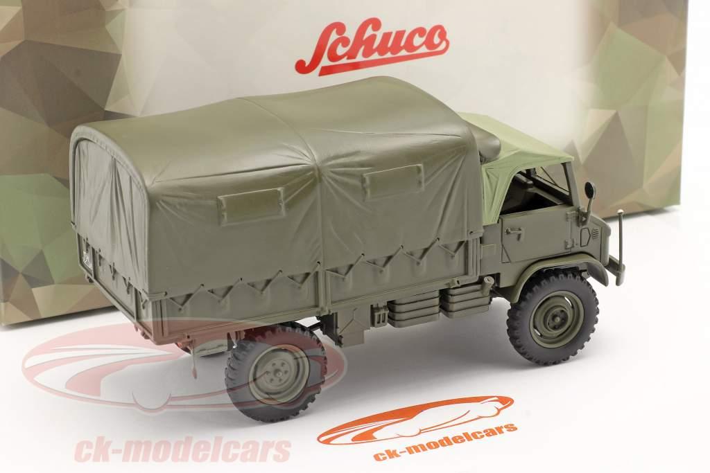 Mercedes-Benz Unimog 404 S Pick-up truck Met Plannen Militair voertuig olijf- 1:35 Schuco