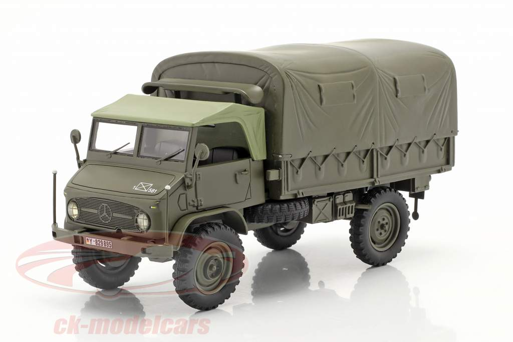 Mercedes-Benz Unimog 404 S Firhjulstrækker Med Planer Militær køretøj oliven 1:35 Schuco