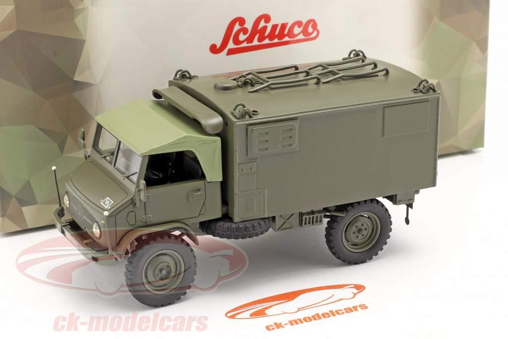 Mercedes Benz Unimog 404 S boîte Van Véhicule militaire olive 1:35 Schuco