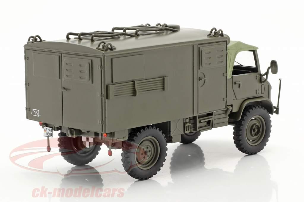 Mercedes-Benz Unimog 404 S Kofferaufbau Militärfahrzeug oliv 1:35 Schuco