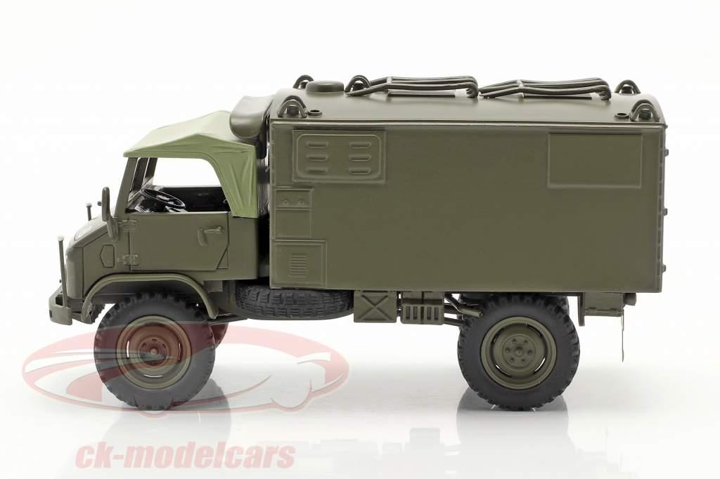 Mercedes Benz Unimog 404 S doos Van Militair voertuig olijf- 1:35 Schuco