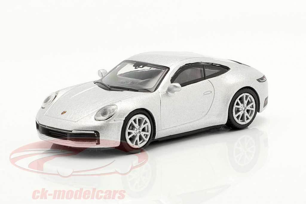 Porsche 911 (992) Carrera S Coupe prata metálico 1:87 Schuco