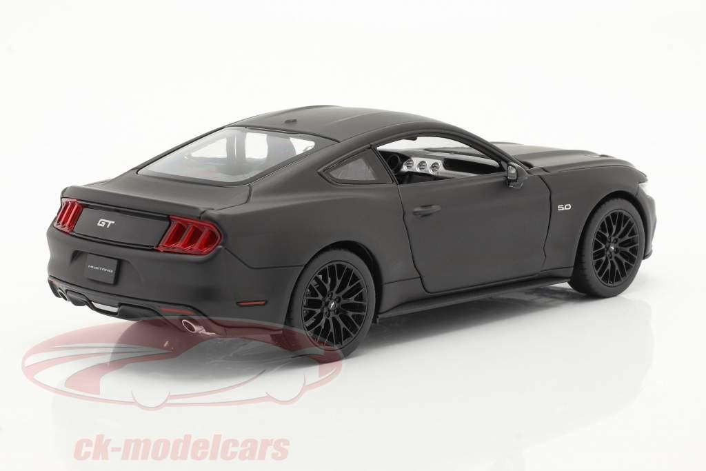 Ford Mustang GT år 2015 måtte sort 1:24 Welly