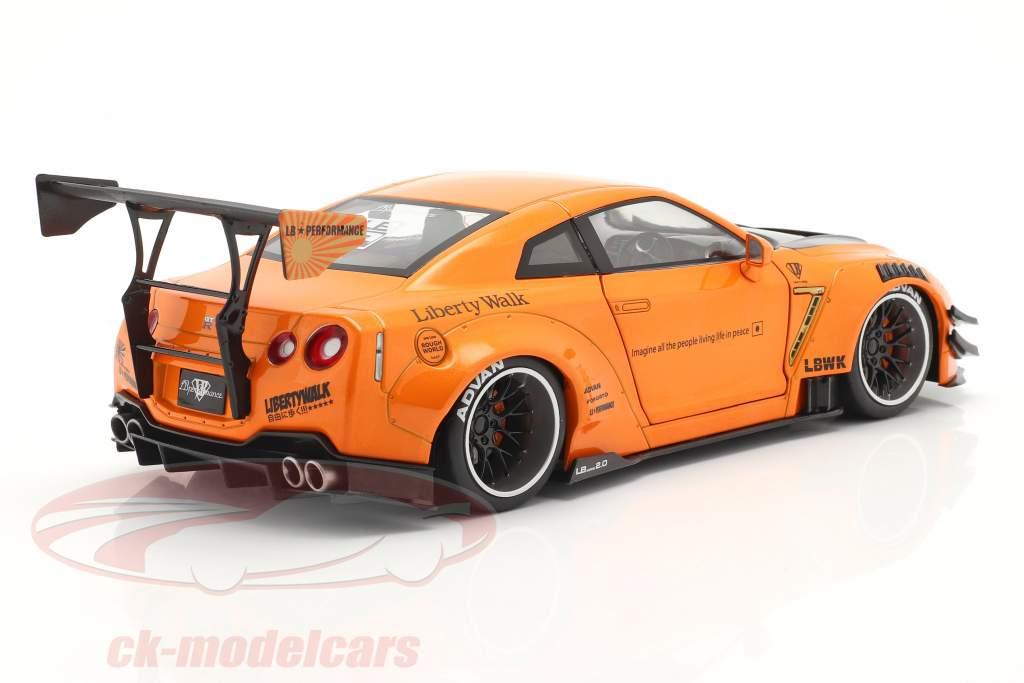 LB Works Nissan GT-R (R35) Modelo 2 laranja metálico 1:18 Solido