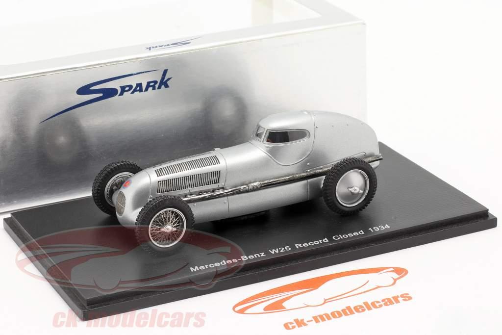 Mercedes-Benz W25 Record gesloten jaar 1934 zilver 1:43 Spark