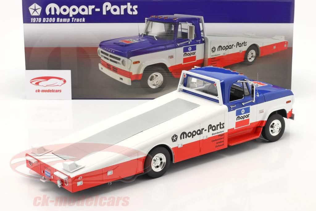 Dodge D300 Ramp Truck Mopar 1970 azul / Branco / vermelho 1:18 GMP