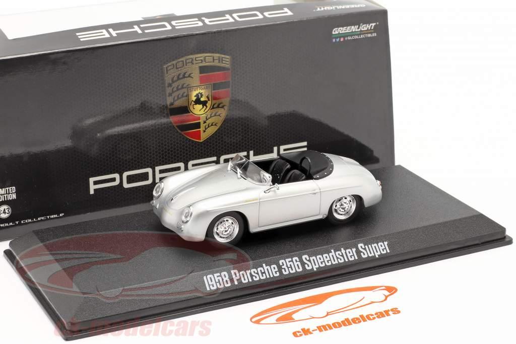 Porsche 356 Speedster Super Byggeår 1958 sølv metallisk 1:43 Greenlight