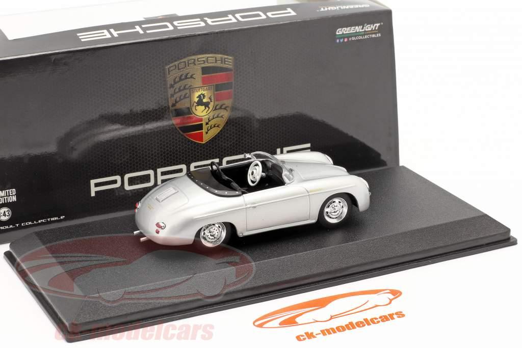 Porsche 356 Speedster Super Bouwjaar 1958 zilver metalen 1:43 Greenlight