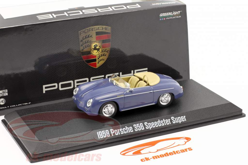 Porsche 356 Speedster Super Bouwjaar 1958 aquamarine blauw 1:43 Greenlight