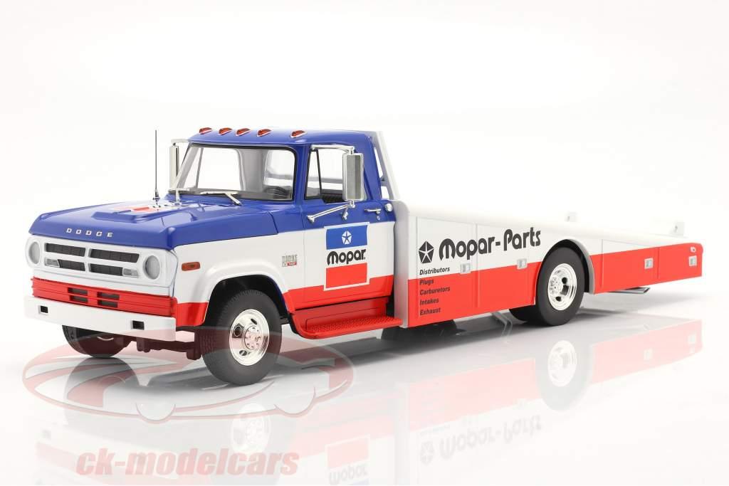 Dodge D300 Ramp Truck Mopar 1970 blå / hvid / rød 1:18 GMP
