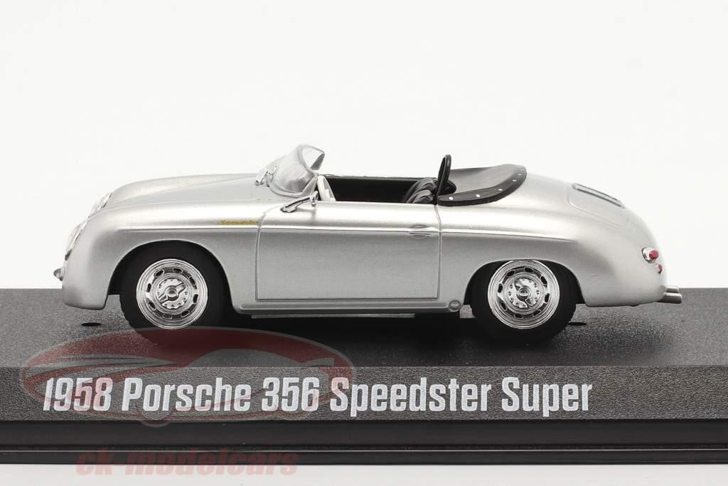 Porsche 356 Speedster Super Année de construction 1958 argent métallique 1:43 Greenlight