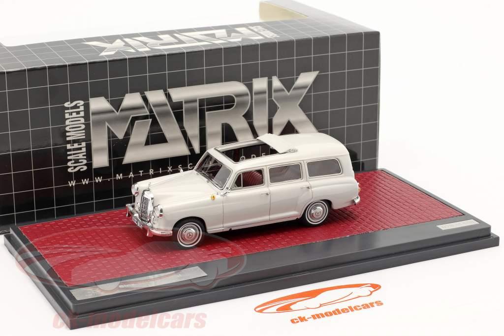 Mercedes-Benz Binz 180d (W120) Stationwagen Bouwjaar 1960 lichtgrijs 1:43 Matrix