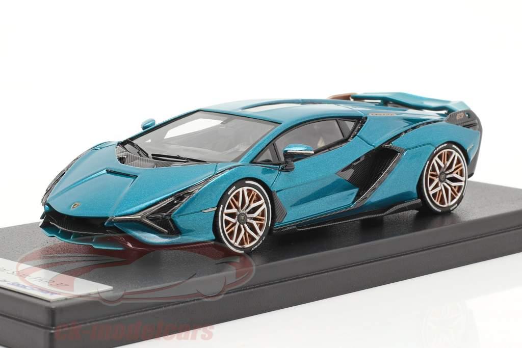 Lamborghini Sian FKP 37 Hybrid Bouwjaar 2020 Uranus blauw metalen 1:43 LookSmart