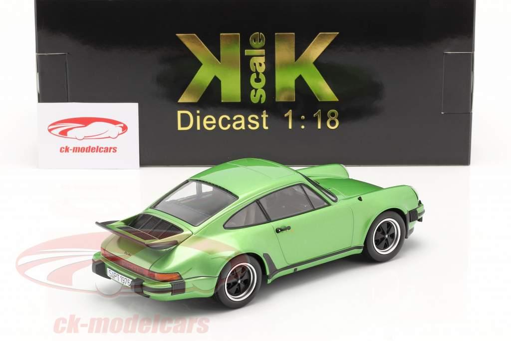 Porsche 911 (930) Turbo 3.0 Bouwjaar 1976 groen metalen 1:18 KK-Scale