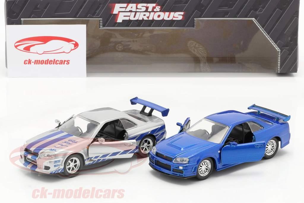 2-Car Set Fast & Furious: Brian's Nissan Skyline GT-R blau / silber 1:32 Jada Toys