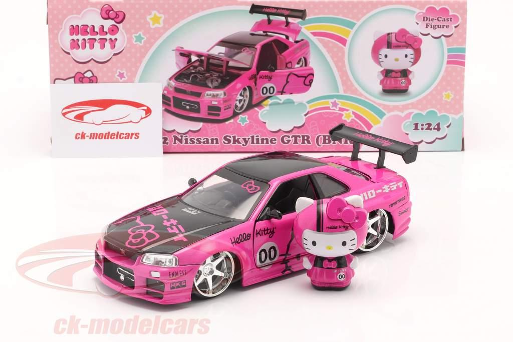 Nissan Skyline GT-R (BNR34) 2002 Hello Kitty cor de rosa / Preto 1:24 Dickie Toys