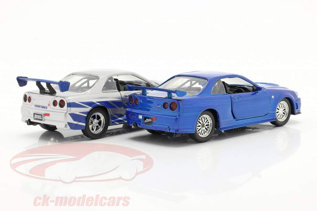 2-Car Set Brian's Nissan Skyline GT-R Fast & Furious blue / silver 1:32 Jada Toys