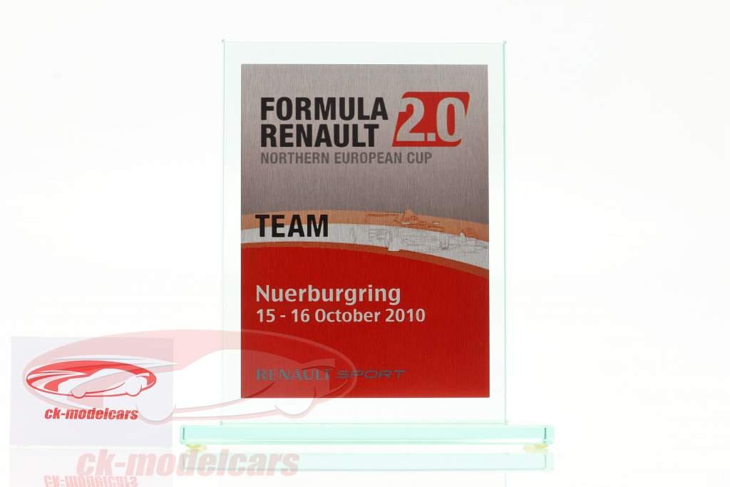 Coupe en verre formule Renault 2.0 NEC équipe Prix Renault Sport Nürburgring 2010
