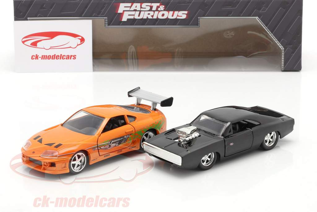 2-Car Set Fast & Furious: Brian's Toyota Supra & Dom's Dodge Charger 1:32 Jada Toys