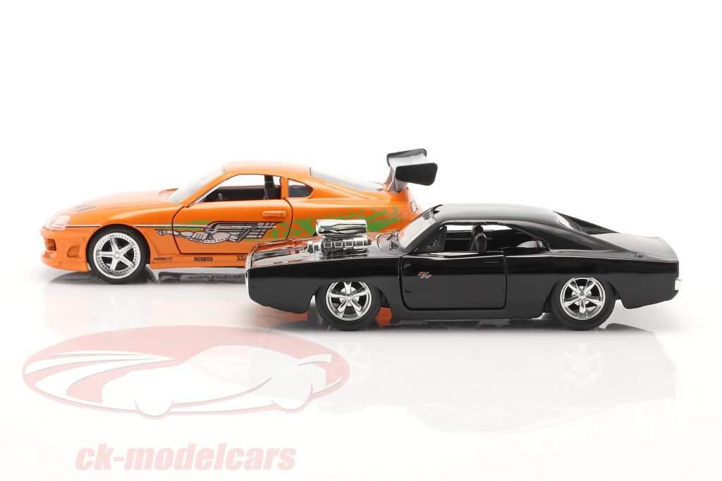 2-Car Set Brian's Toyota Supra & Dom's Dodge Charger 1:32 Jada Toys