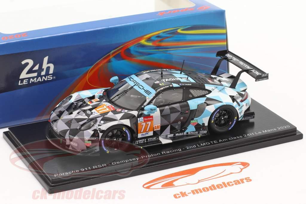Porsche 911 RSR #77 2do LMGTE-Am 24h LeMans 2020 Dempsey-Proton Racing 1:43 Spark