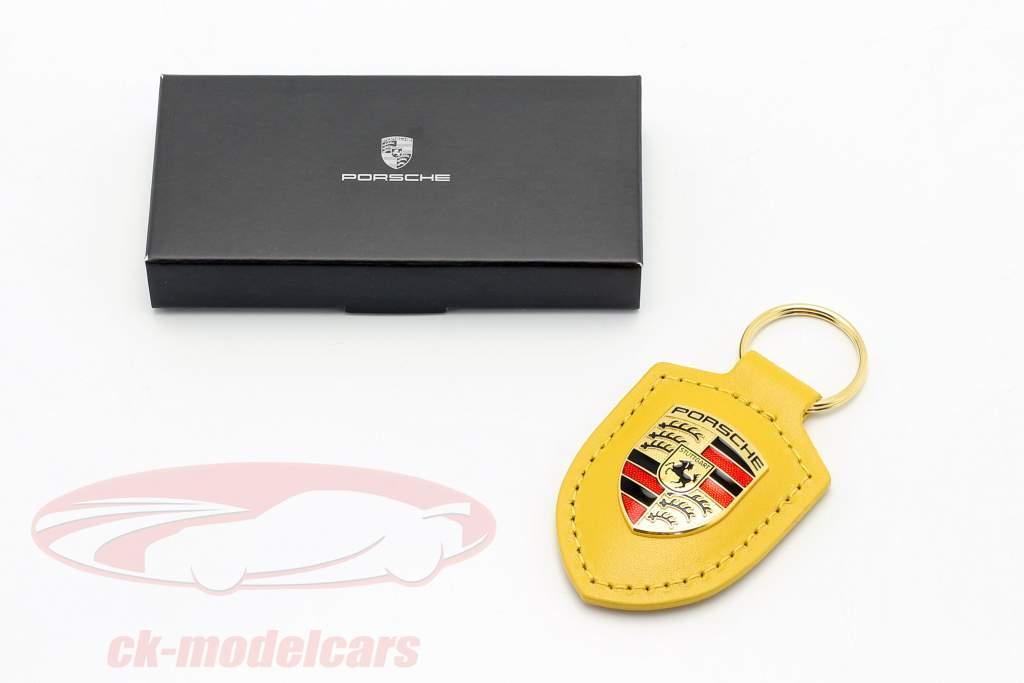 Læder nøglering Porsche badge hastighed gul