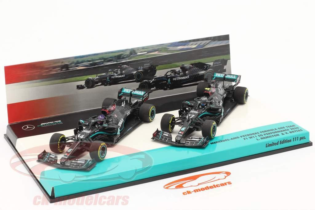 Hamilton #44 & Bottas #77 2-Car Set Mercedes-AMG F1 W11 formule 1 2020 1:43 Minichamps
