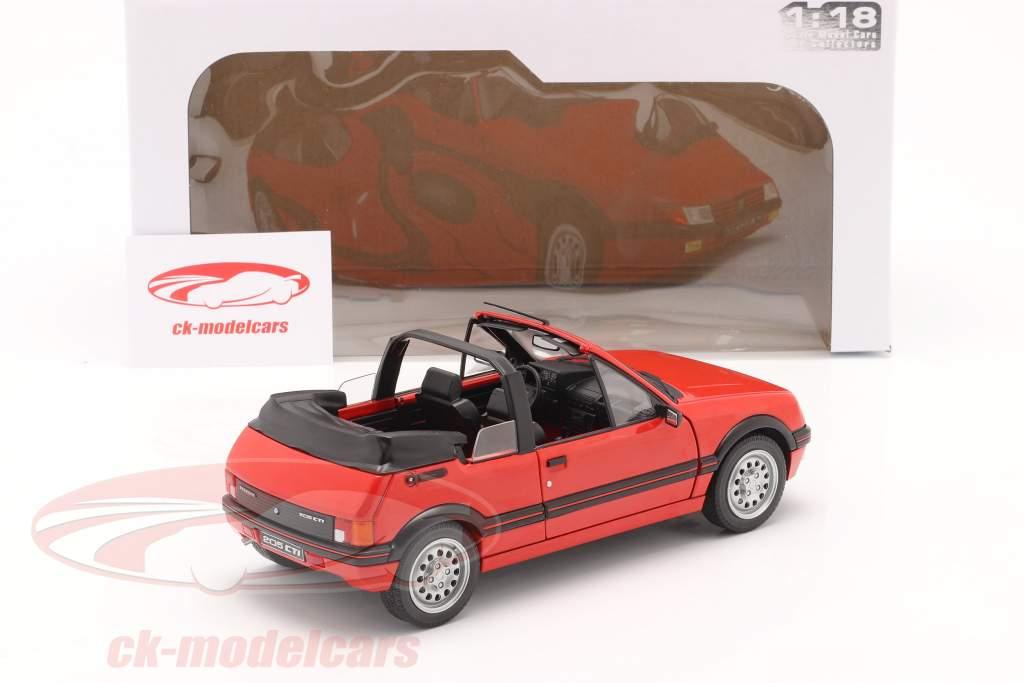 Peugeot 205 CTI MK1 Cabriolet Byggeår 1989 rød 1:18 Solido